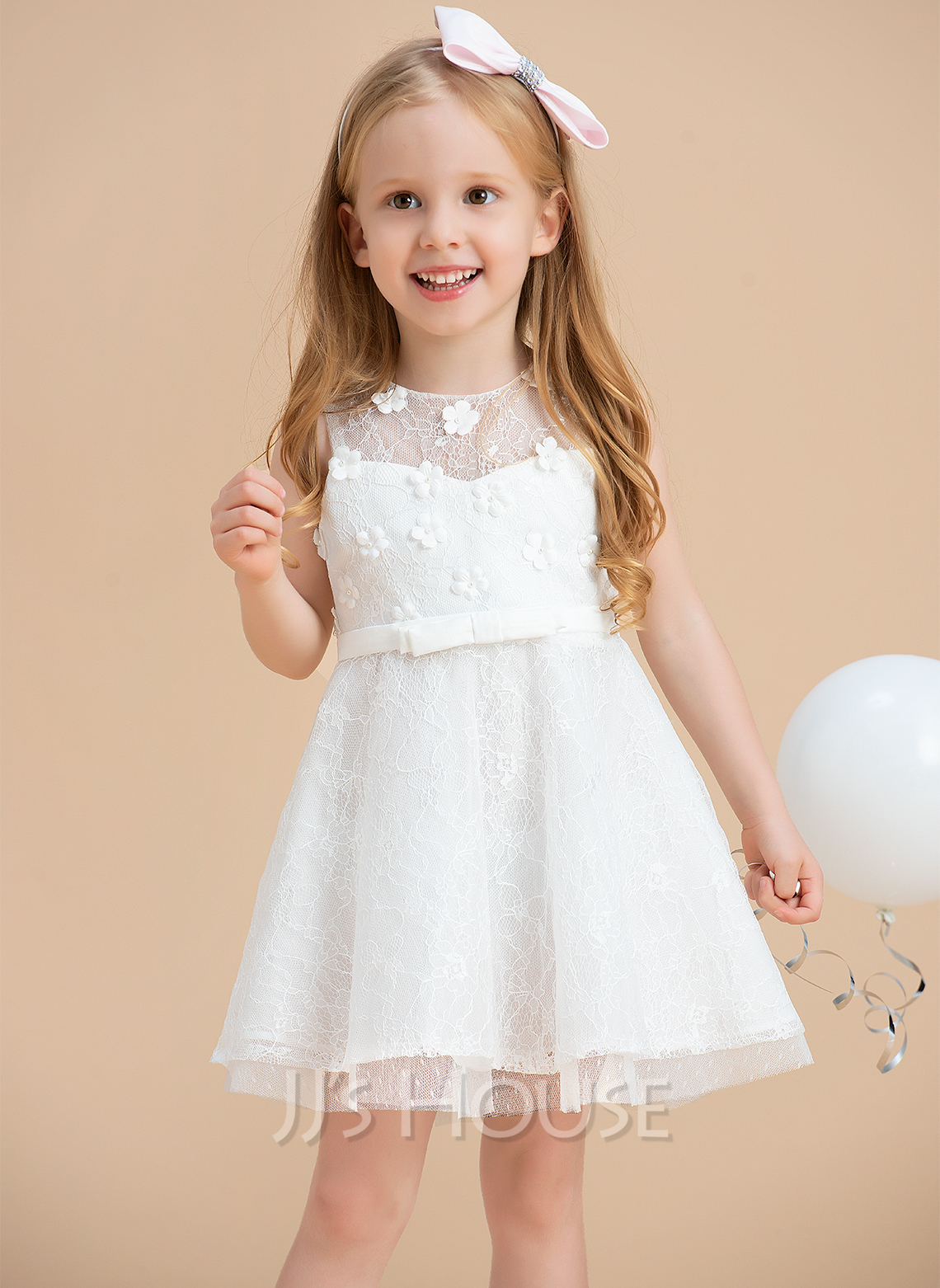 A-Line Knee-length Flower Girl Dress - Satin/Lace Sleeveless Scoop Neck With Beading/Flower(s)/Bow(s)