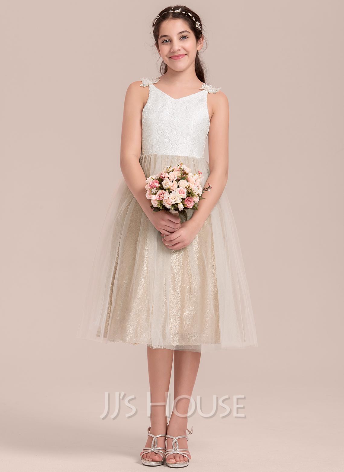 A-Line V-neck Knee-Length Tulle Junior Bridesmaid Dress
