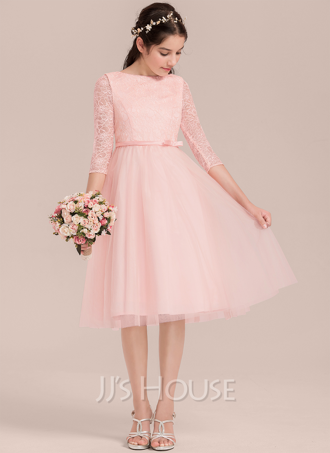 A-Line Scoop Neck Knee-Length Tulle Junior Bridesmaid Dress With Bow(s)