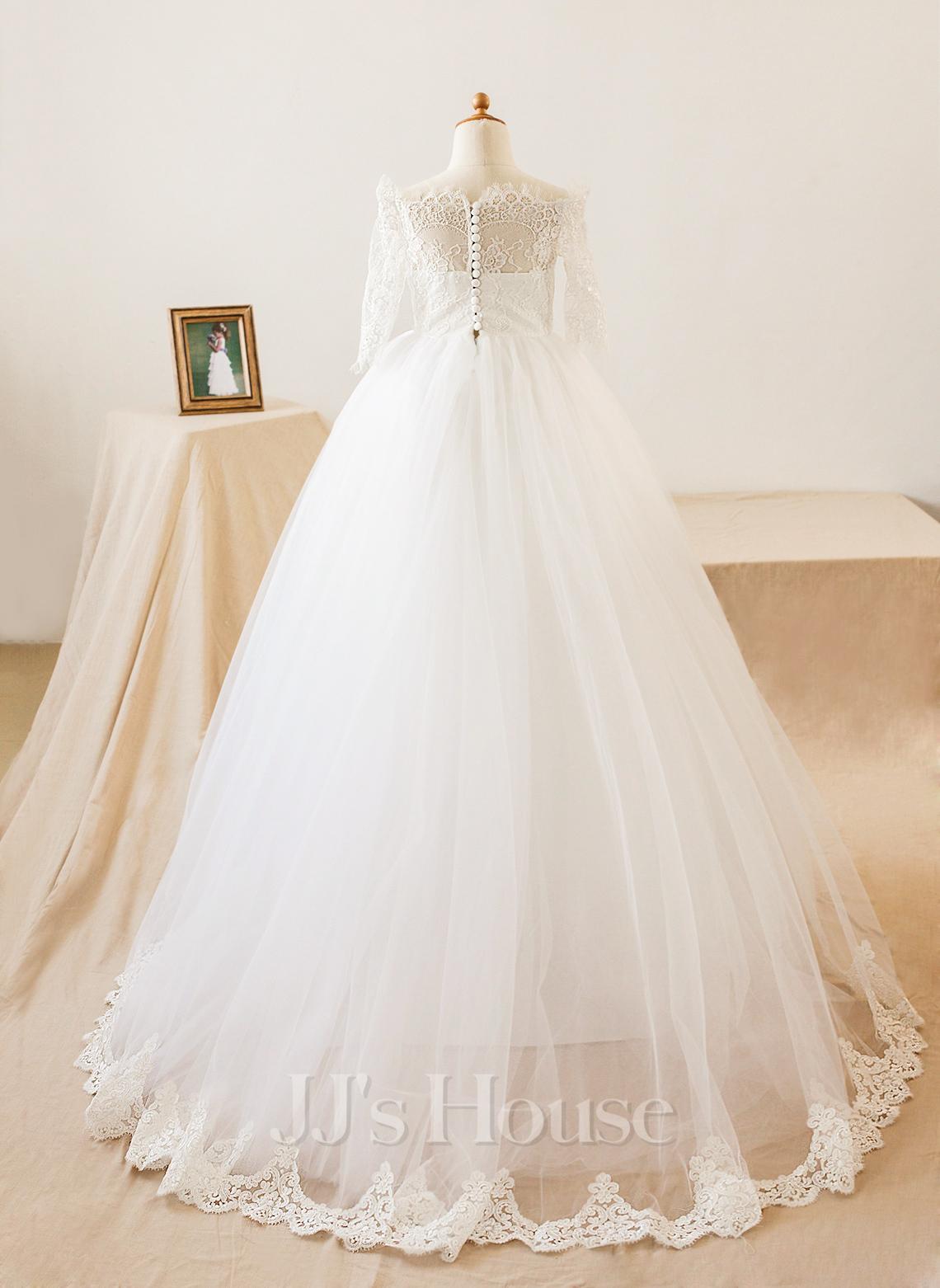 A-Line Floor-length Flower Girl Dress - Tulle/Lace Long Sleeves Bateau