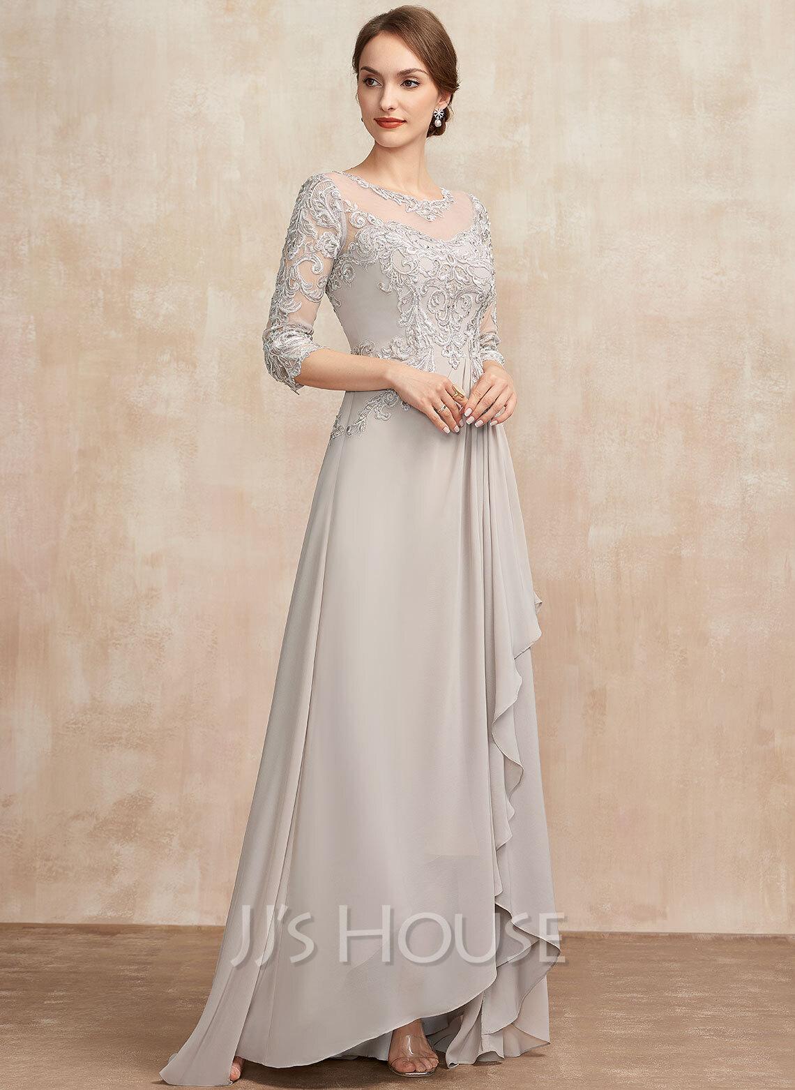 A-formet Scoop Hals Asymmetrisk Chiffong Blonder Kjole til brudens mor med paljetter