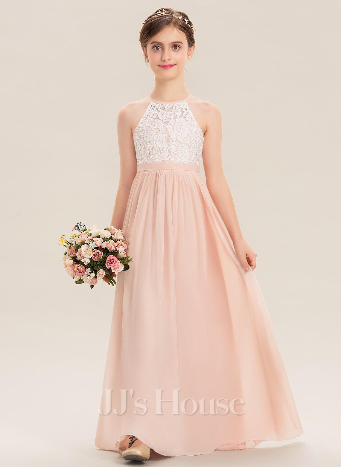 A-Line Scoop Neck Floor-Length Chiffon Lace Junior Bridesmaid Dress
