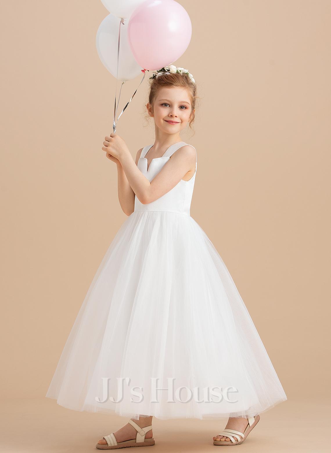Ball Gown Ankle-length Flower Girl Dress - Satin/Tulle Sleeveless Square Neckline