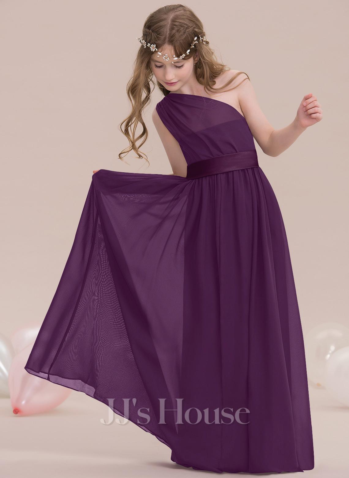 A-Line One-Shoulder Floor-Length Chiffon Junior Bridesmaid Dress With Ruffle