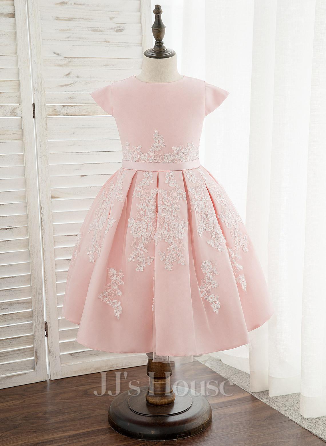 A-Line Knee-length Flower Girl Dress - Satin/Lace Sleeveless Scoop Neck