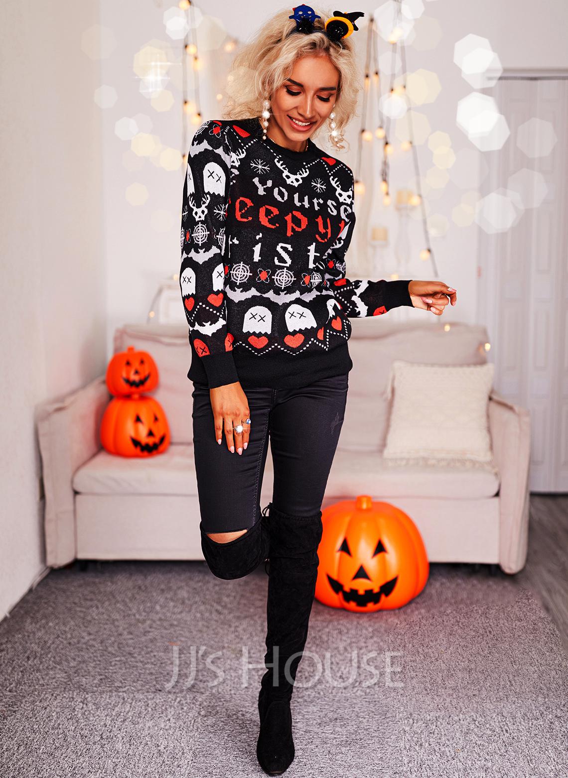 Rund hals Lange ermer Regelmessig Halloween Trykk Hjerte Animal Tekst Avslappet Gensere