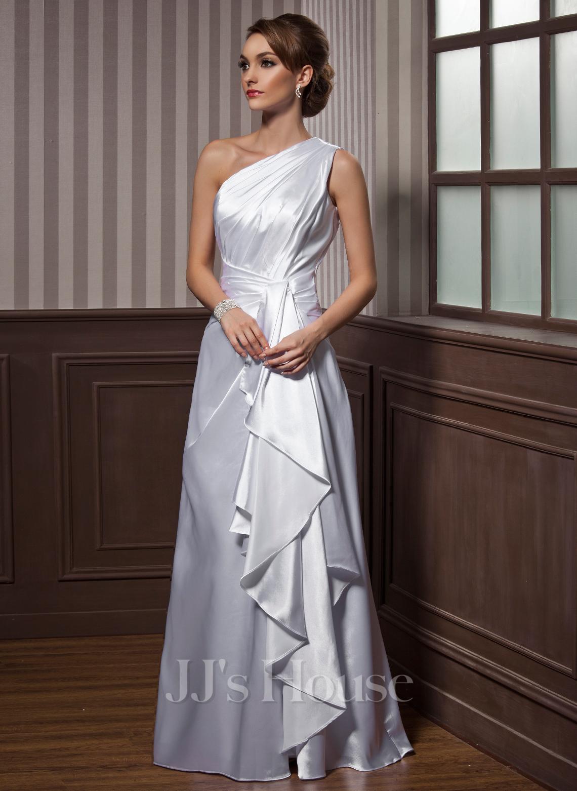 A-formet/Prinsesse En Skuldret/Asymmetrisk Gulvlengde Charmeuse Festkjole med Brusende Volanger