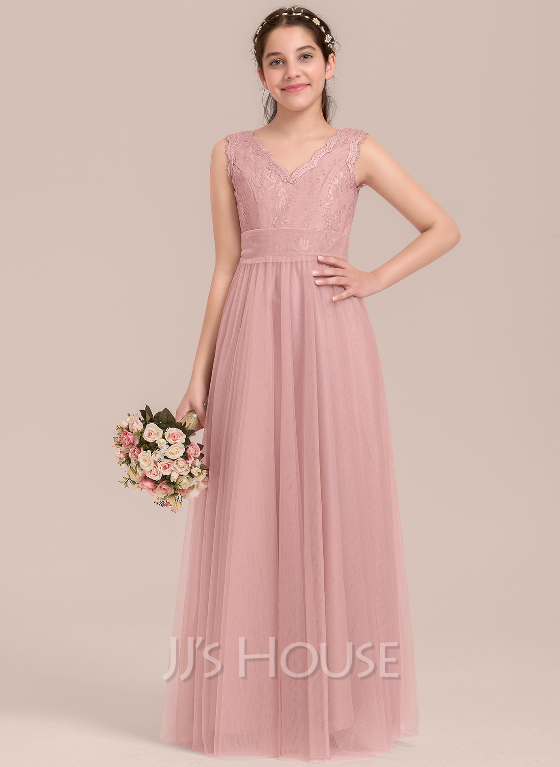 A-Line V-neck Floor-Length Tulle Junior Bridesmaid Dress
