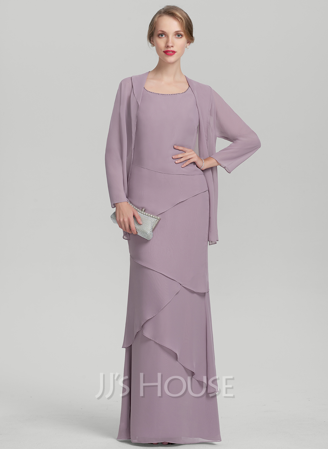 Sheath/Column Scoop Neck Floor-Length Chiffon Mother of the Bride Dress With Beading Cascading Ruffles