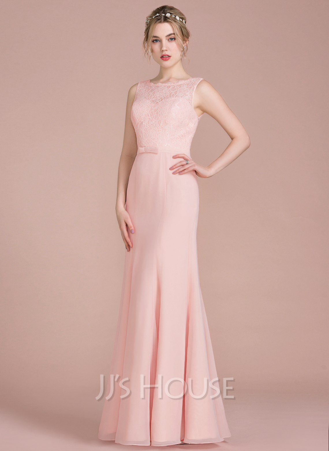 Trumpet/Mermaid Scoop Neck Floor-Length Chiffon Lace Bridesmaid Dress With Bow(s)