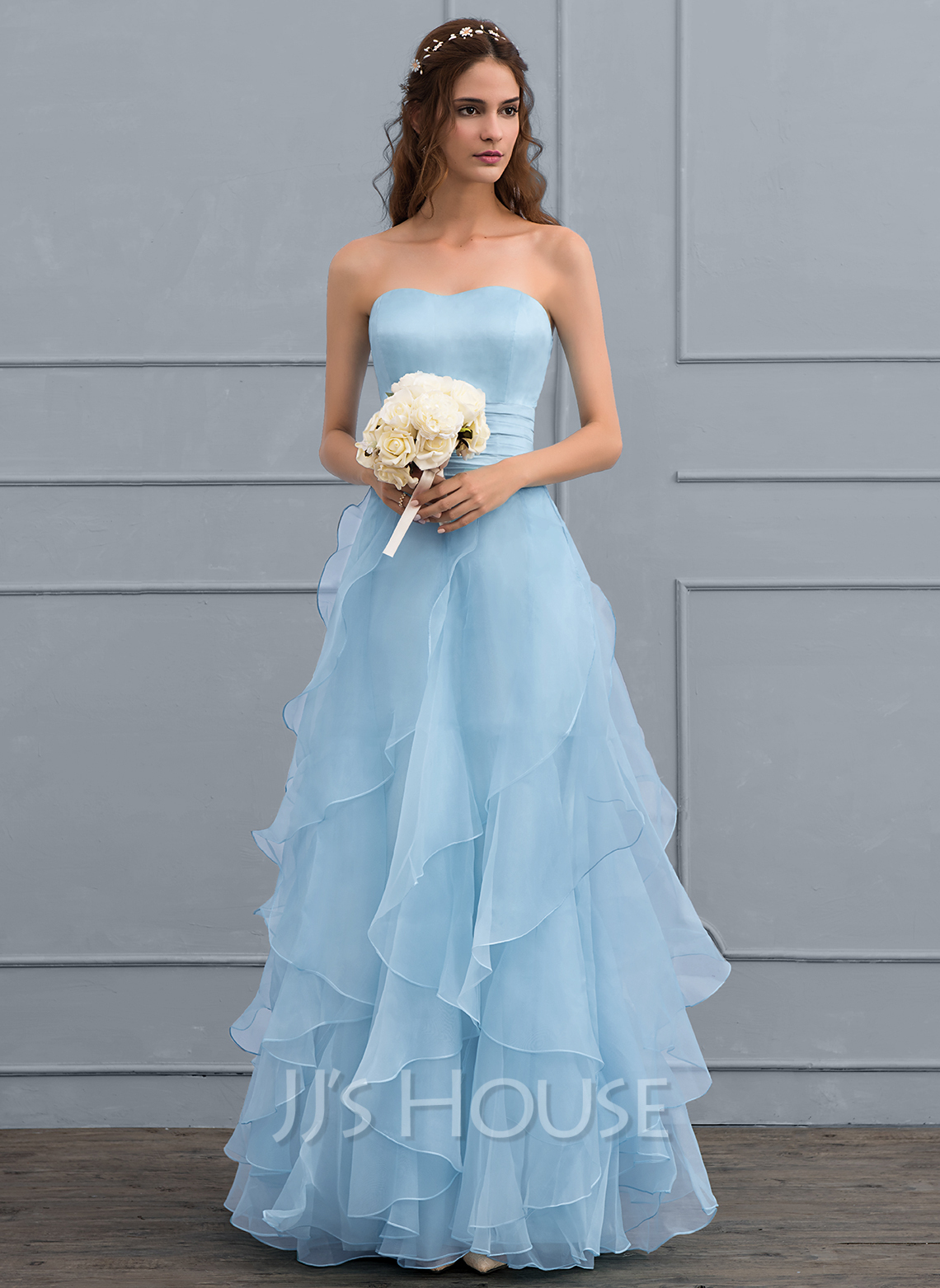 A-Line Sweetheart Floor-Length Organza Wedding Dress With Cascading Ruffles
