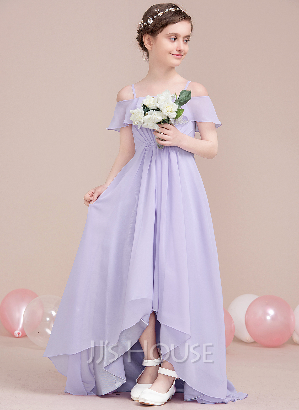 A-Line Off-the-Shoulder Asymmetrical Chiffon Junior Bridesmaid Dress With Cascading Ruffles