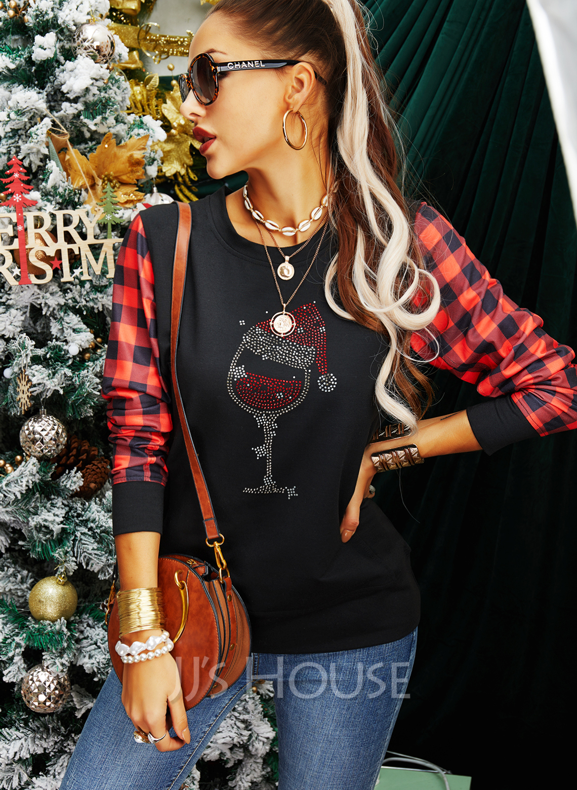 Rund hals Lange ermer Regelmessig Christmas Rutete Jerseykjorte