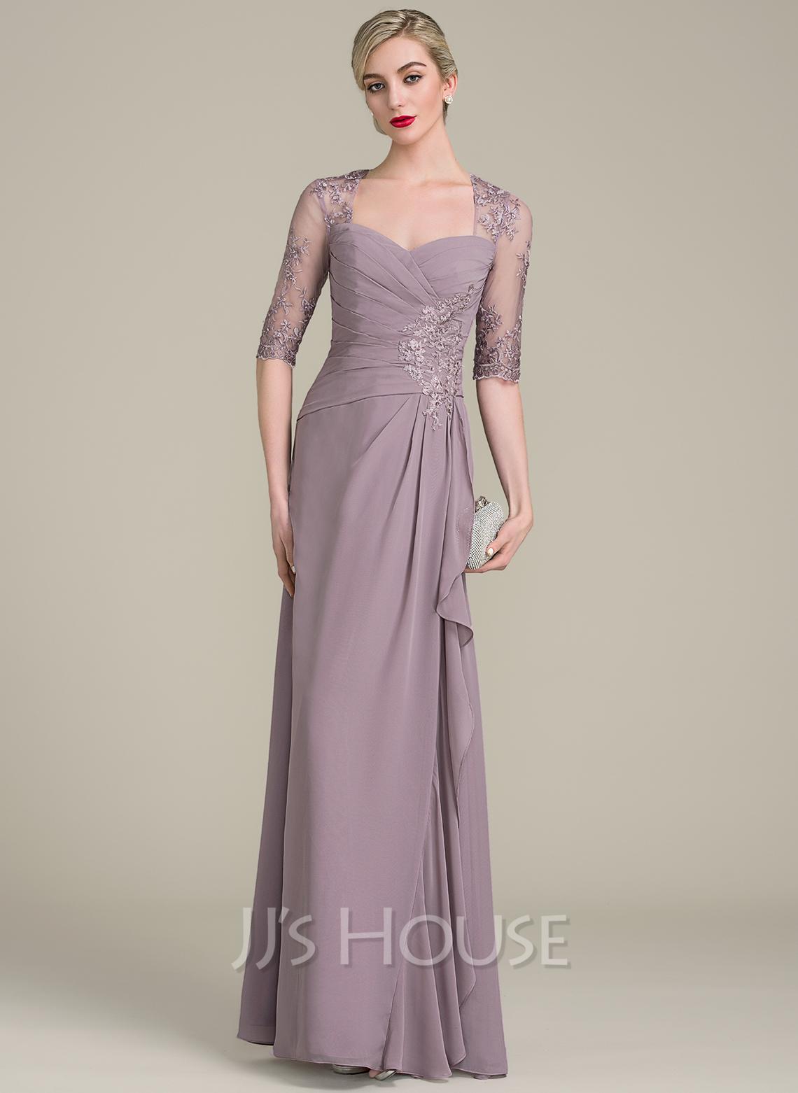 A-Line/Princess Sweetheart Floor-Length Chiffon Evening Dress With Beading Sequins Cascading Ruffles