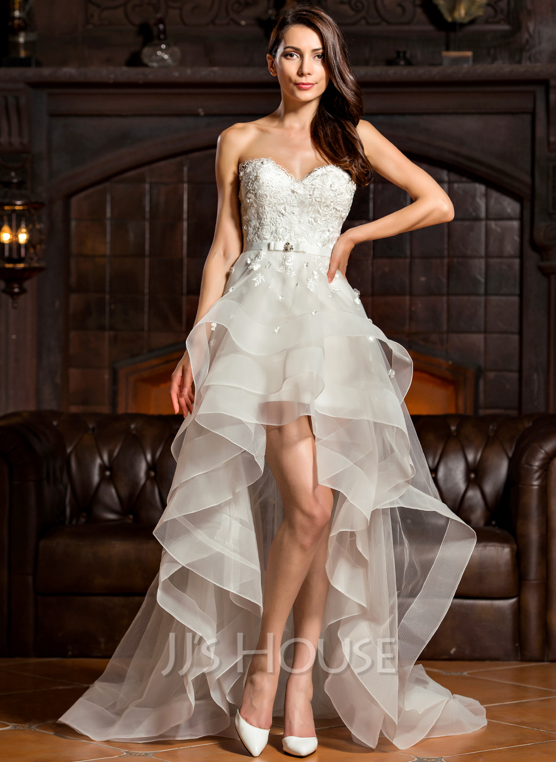 A-Line Sweetheart Asymmetrical Tulle Wedding Dress With Beading Bow(s)