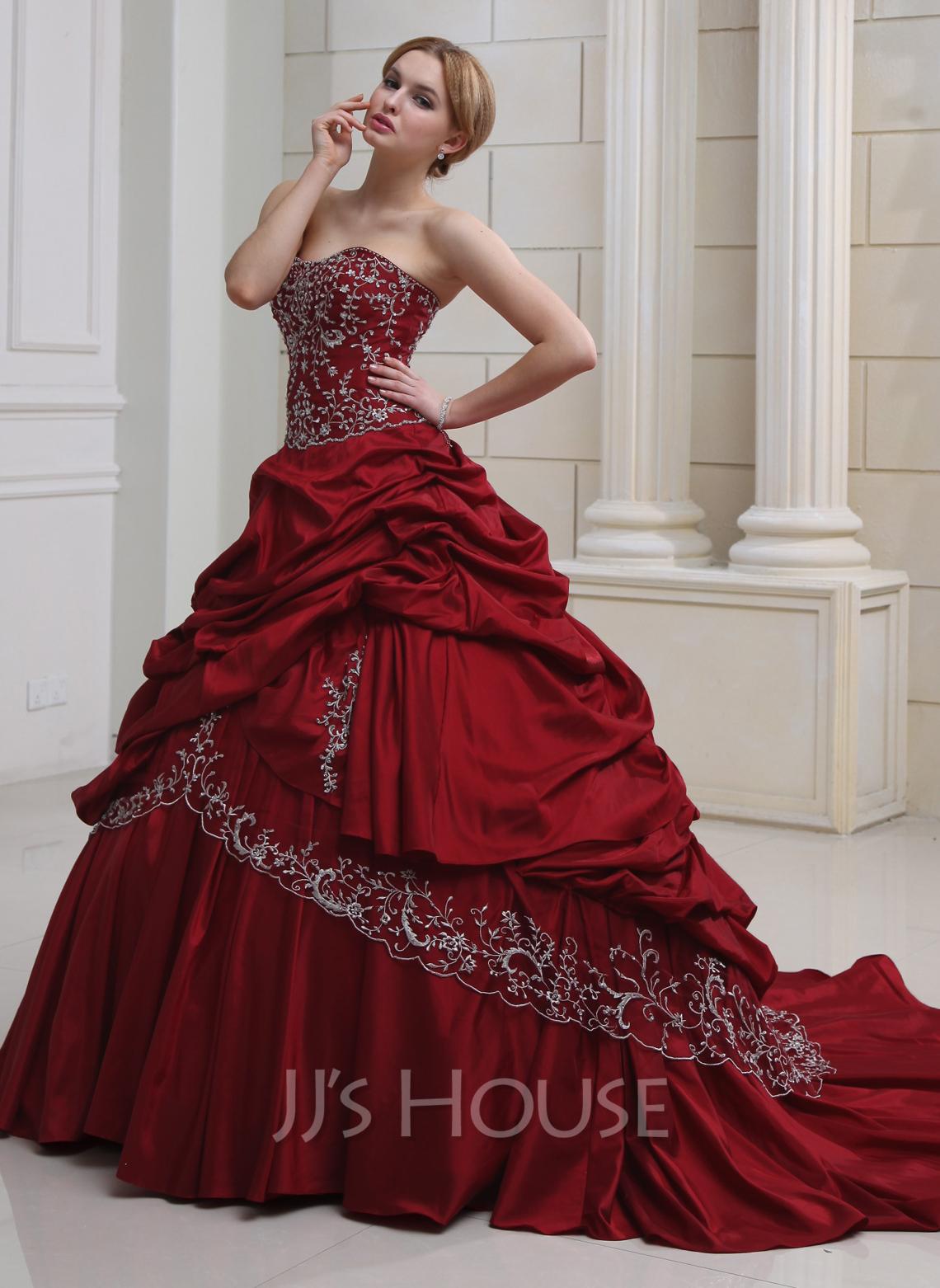 Ball-Gown Sweetheart Royal Train Taffeta Wedding Dress With Embroidered Ruffle Beading