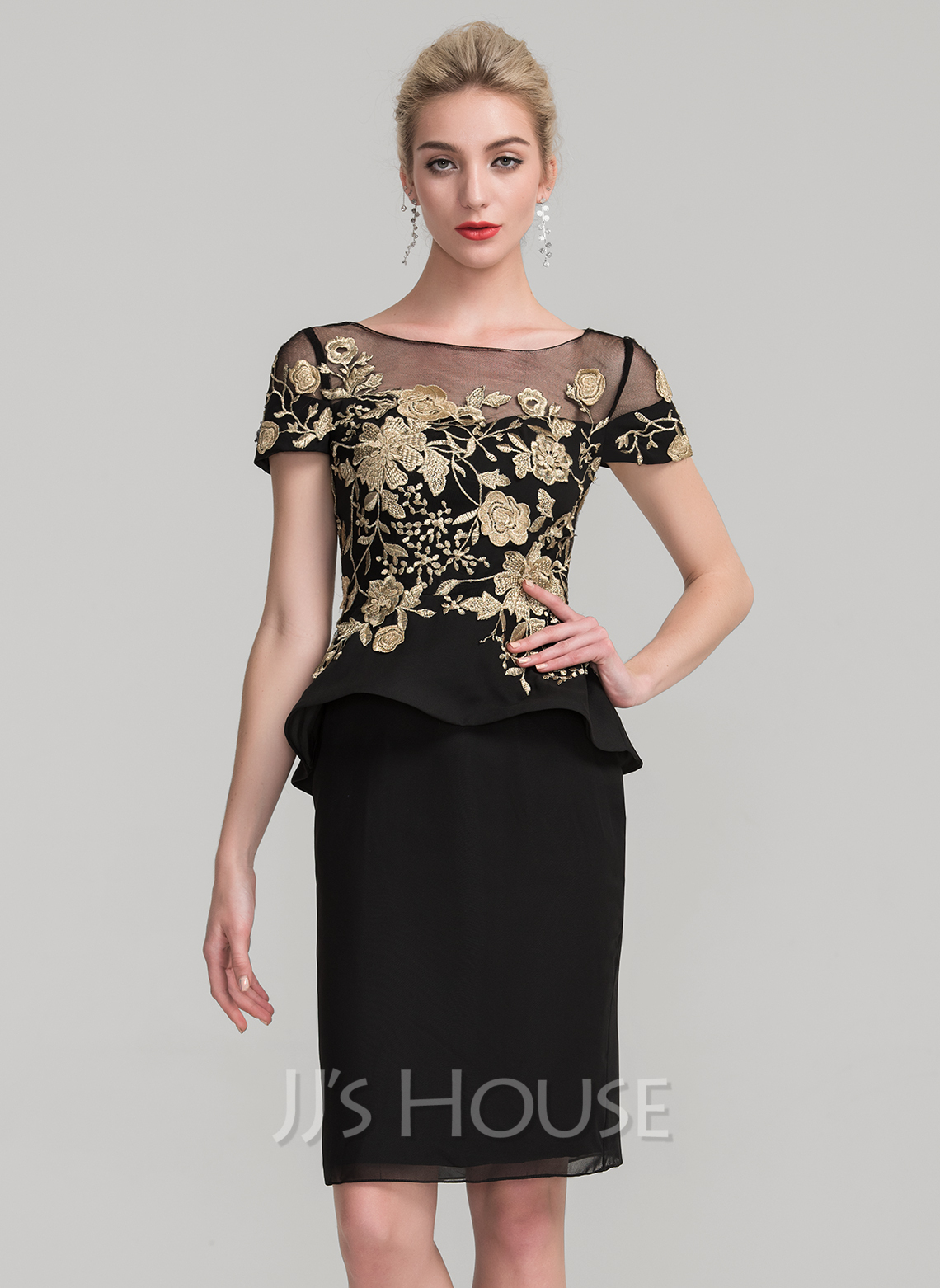 Sheath/Column Scoop Neck Knee-Length Chiffon Mother of the Bride Dress With Lace Cascading Ruffles