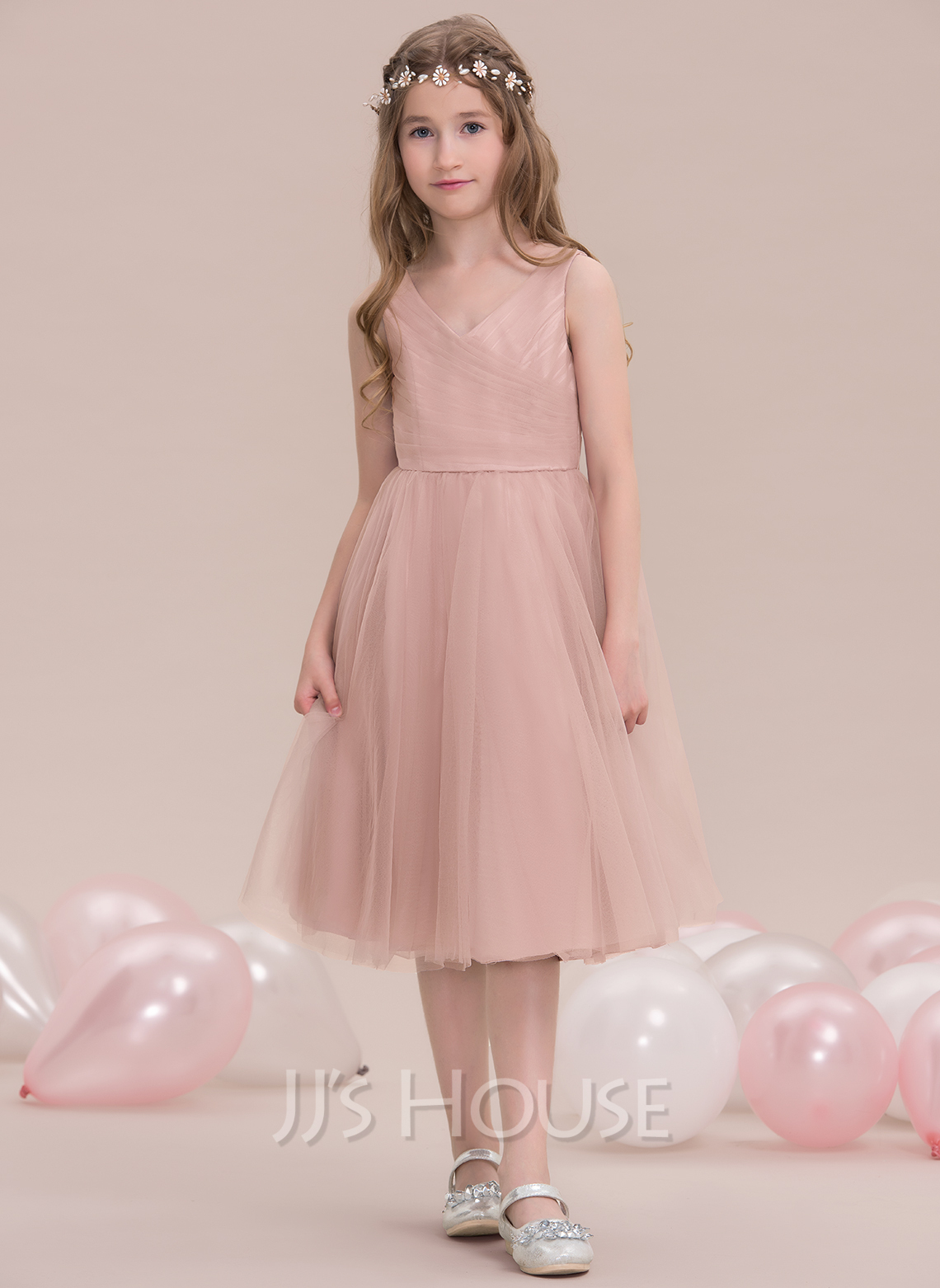 A-Line V-neck Knee-Length Tulle Junior Bridesmaid Dress With Ruffle