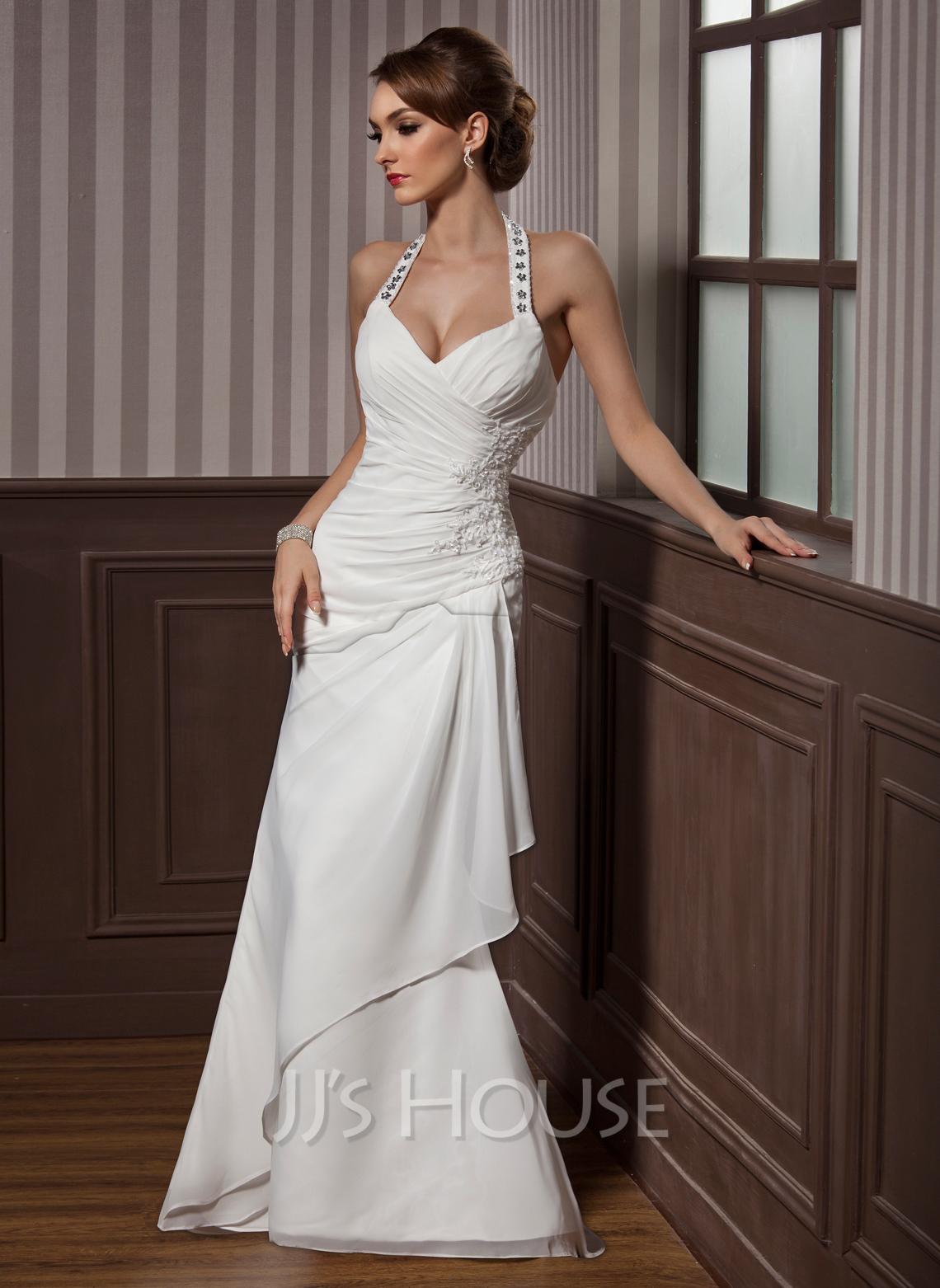 Sheath/Column Halter Floor-Length Chiffon Satin Wedding Dress With Ruffle Beading Appliques Lace Sequins