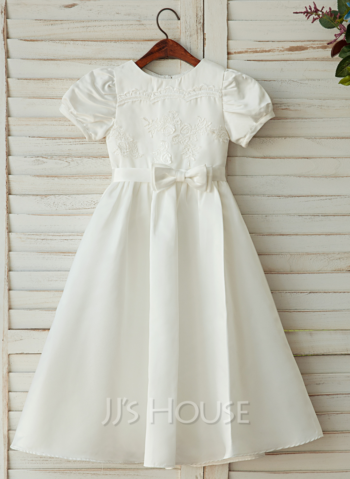 A-Line Ankle-length Flower Girl Dress - Satin/Lace Short Sleeves Scoop Neck