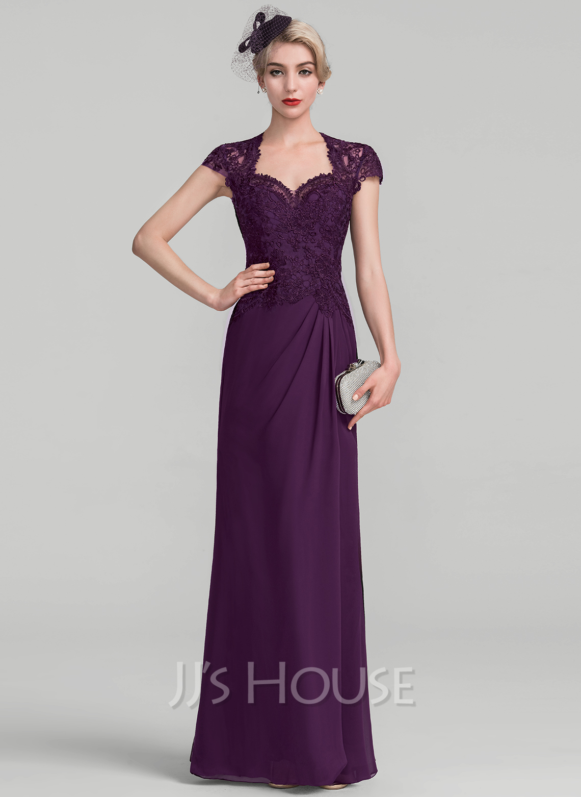 A-Line/Princess Sweetheart Floor-Length Chiffon Lace Evening Dress With Ruffle