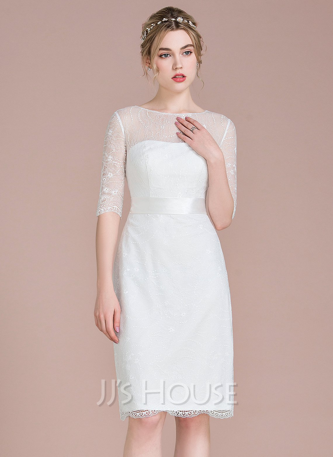 Sheath/Column Illusion Knee-Length Lace Wedding Dress With Bow(s)