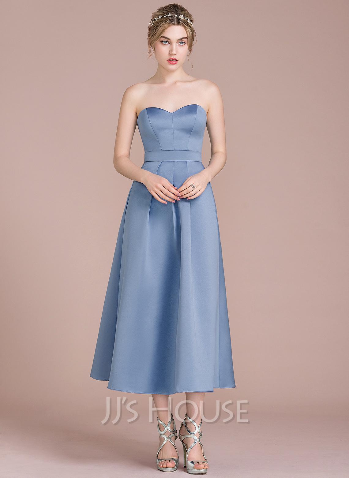 A-formet/Prinsesse kjæreste Te-lengde Satin Brudepikekjole