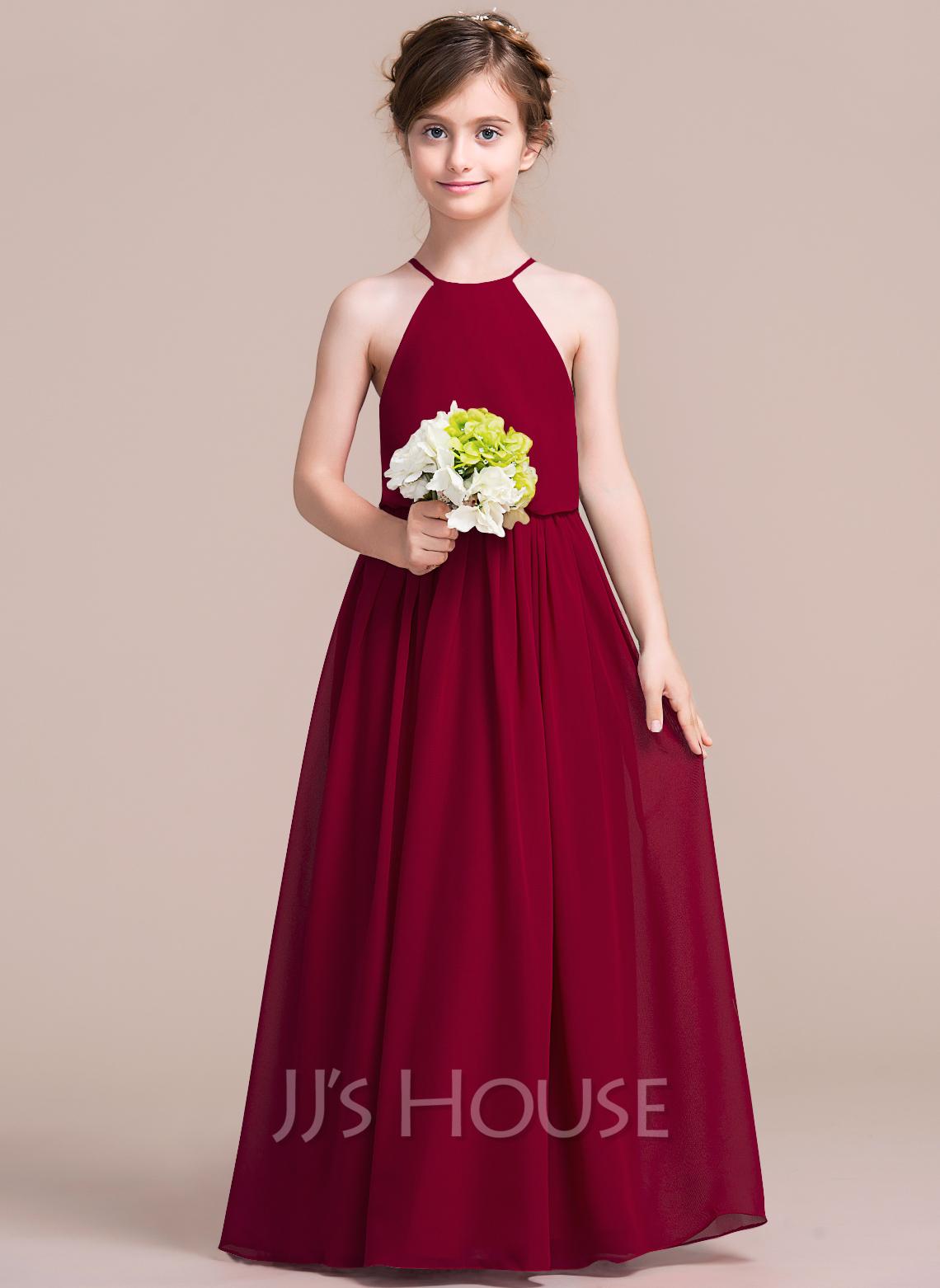 A-Line Scoop Neck Floor-Length Chiffon Junior Bridesmaid Dress