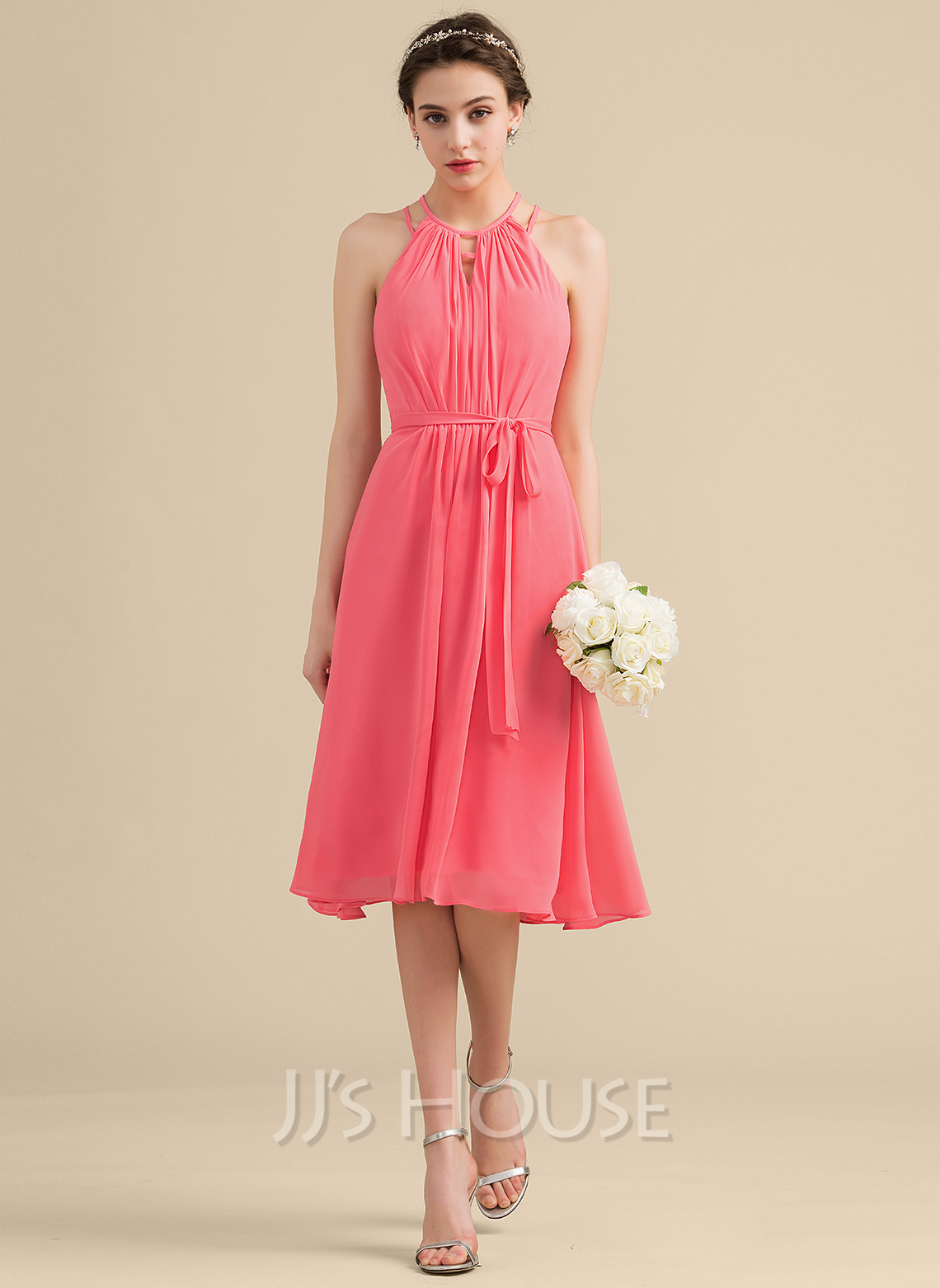 A-Line Scoop Neck Knee-Length Chiffon Bridesmaid Dress With Ruffle Bow(s)