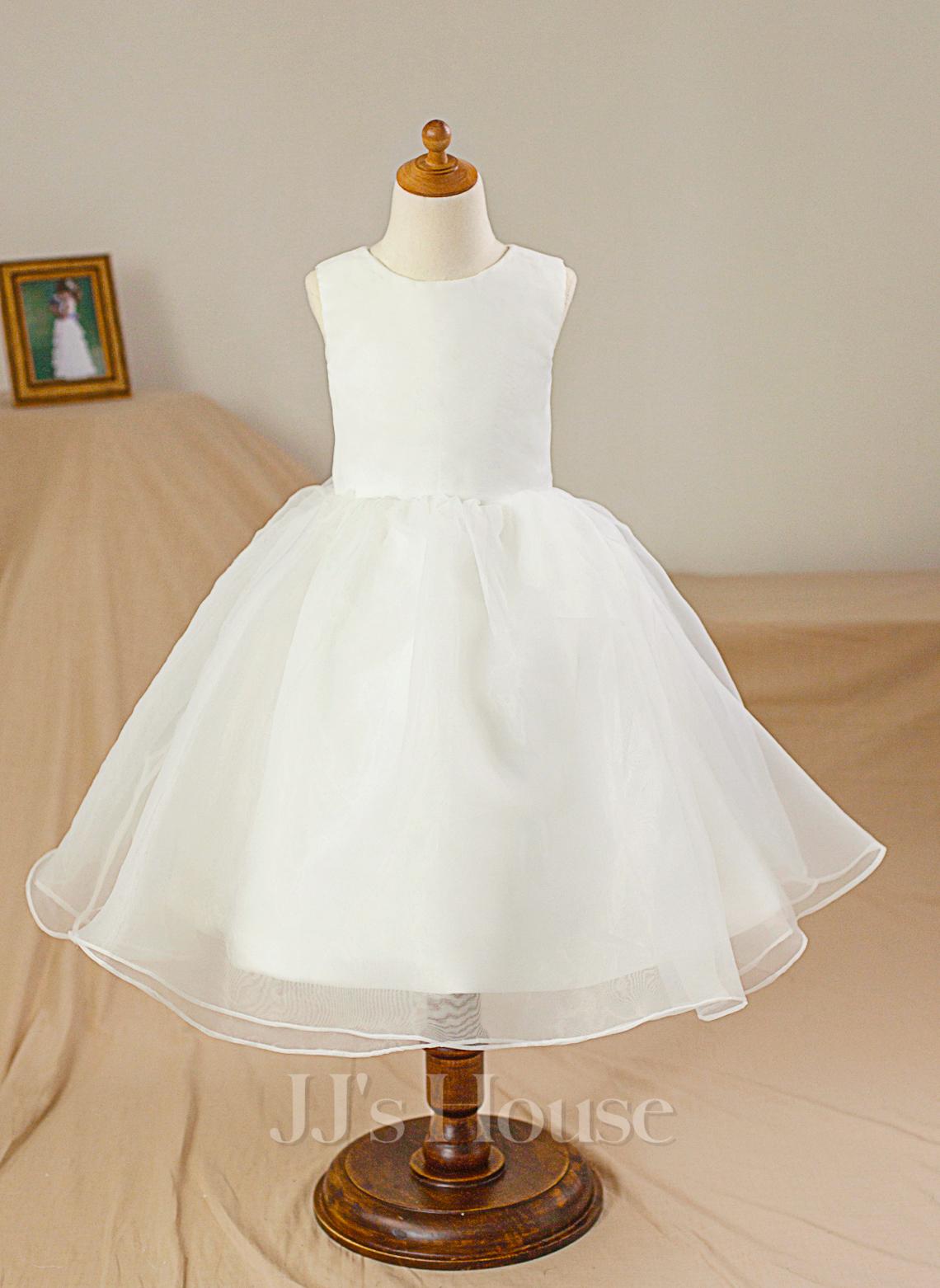 Ball Gown Knee-length Flower Girl Dress - Satin/Tulle Sleeveless Scoop Neck