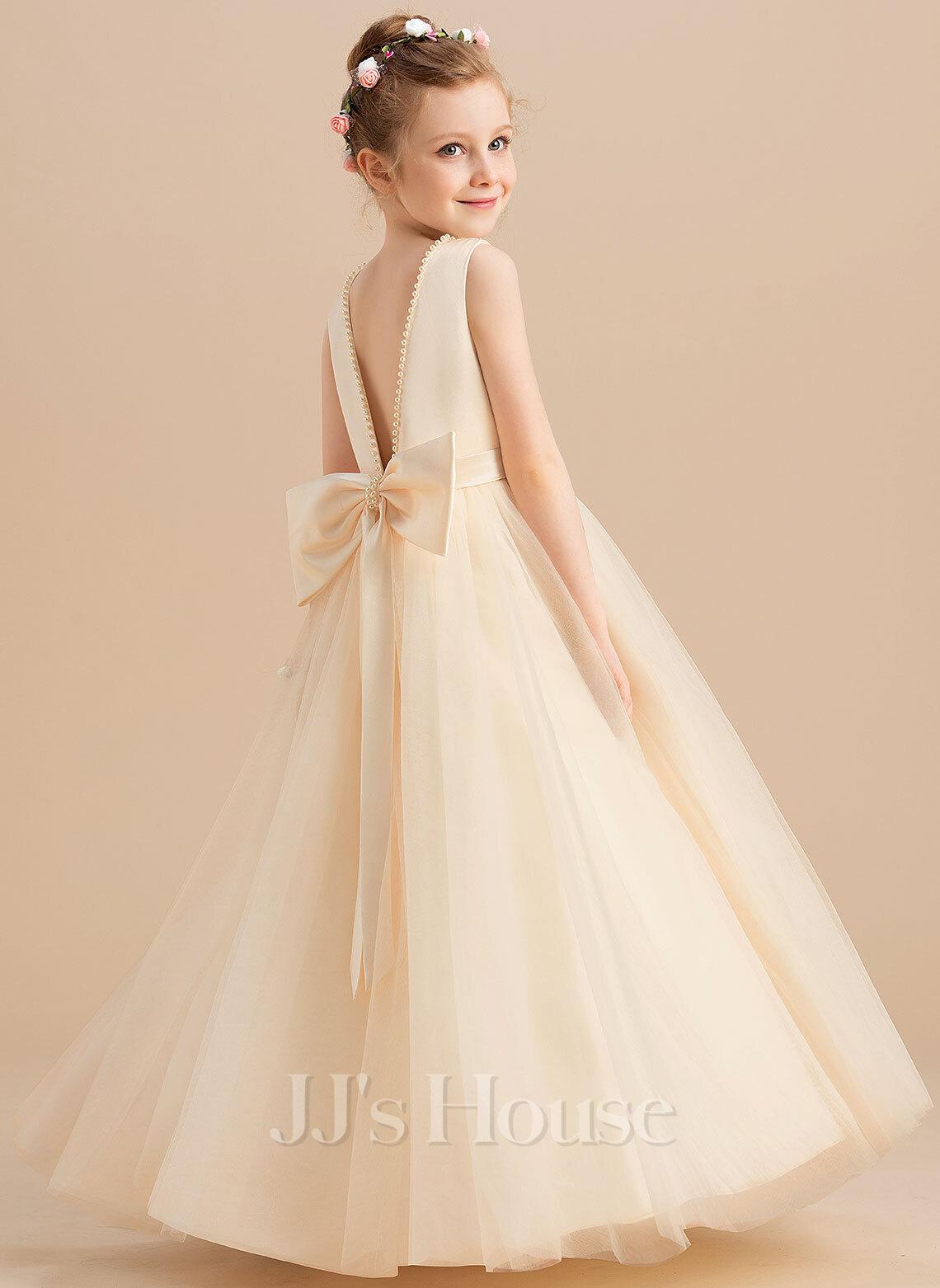 Ball-Gown/Princess Floor-length Flower Girl Dress - Satin/Tulle Sleeveless Scoop Neck With Beading/Bow(s)