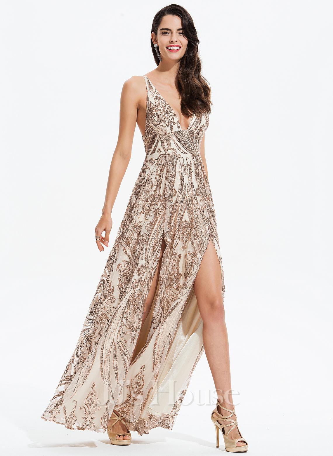 A-Line V-neck Floor-Length Sequined Prom Dresses With Split Front