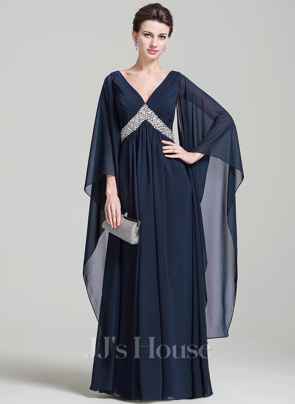 Empire V-neck Floor-Length Chiffon Evening Dress With Ruffle Sequins
