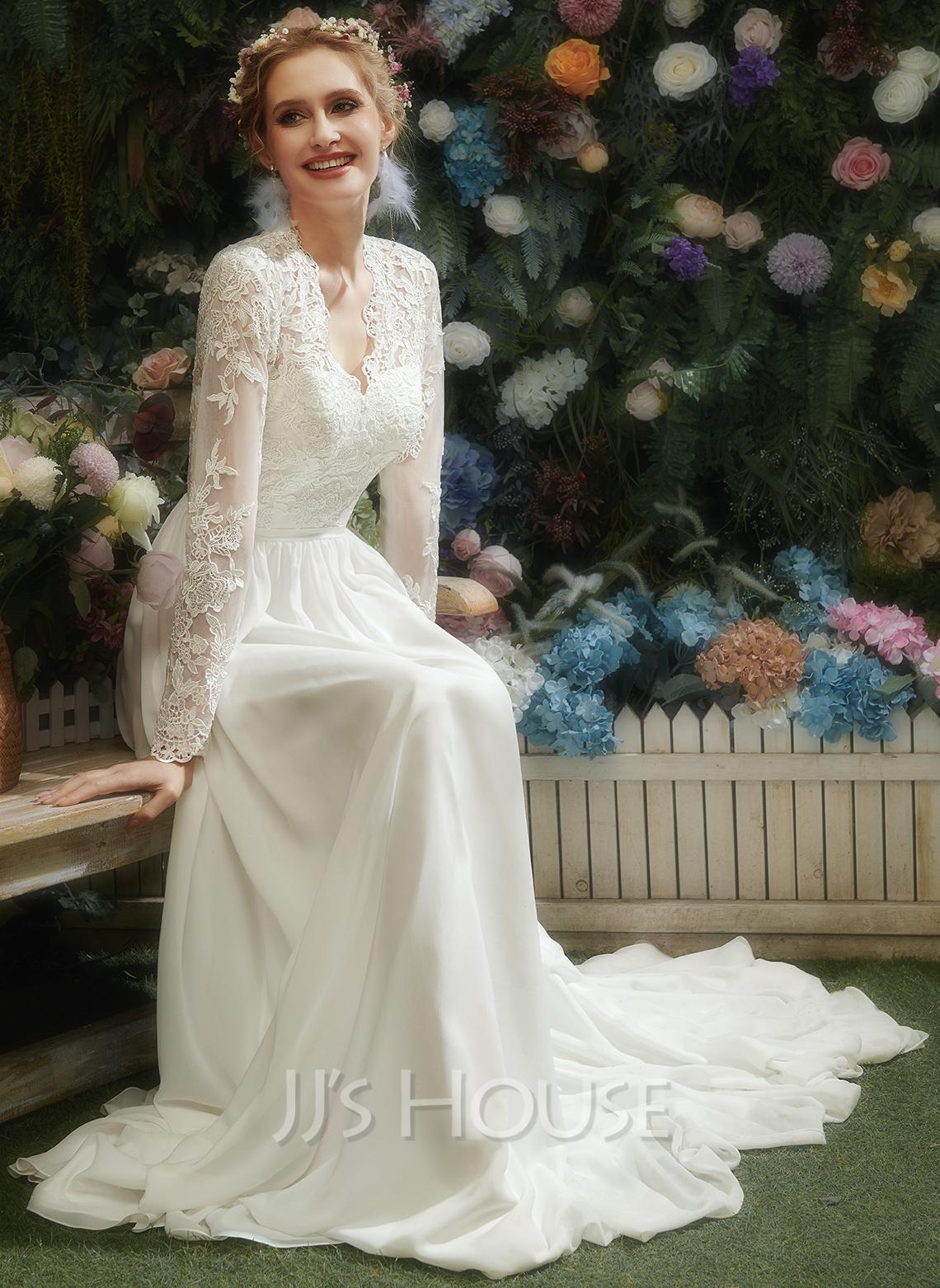 A-Formet V-hals Gulvlengde Brudekjole med Blonder