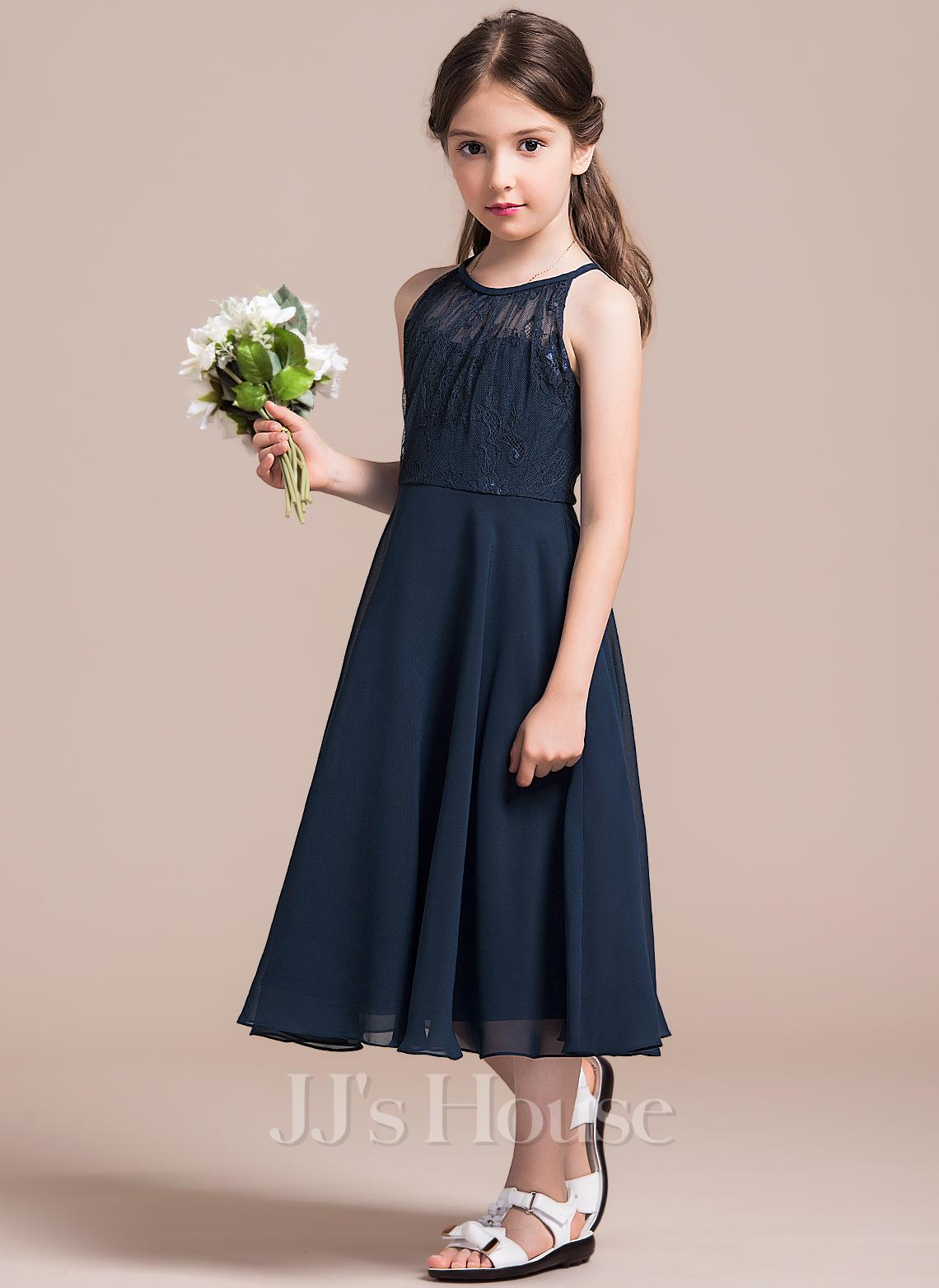 A-Line Scoop Neck Tea-Length Chiffon Lace Junior Bridesmaid Dress With Ruffle