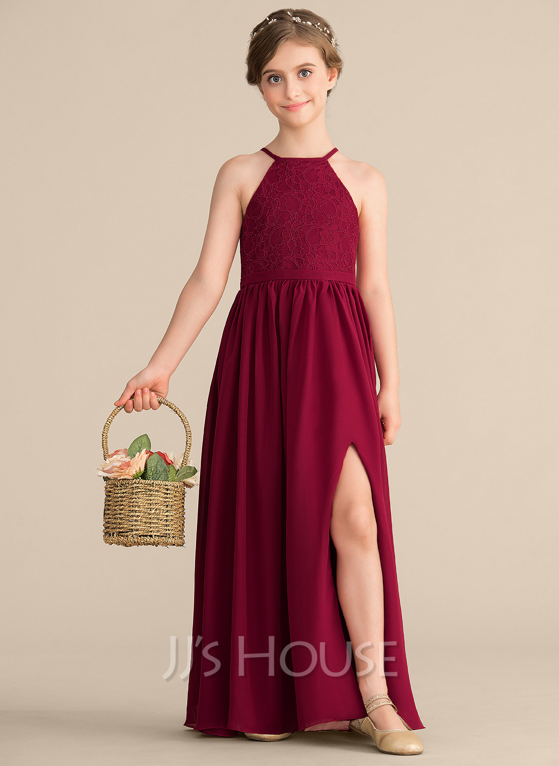 A-Line Scoop Neck Floor-Length Chiffon Lace Junior Bridesmaid Dress With Split Front