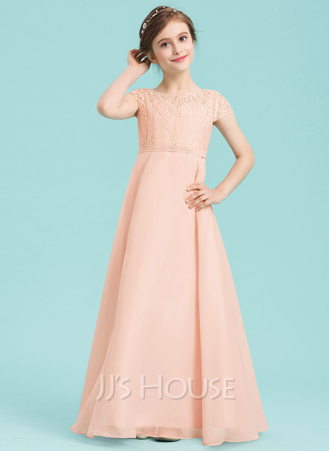 A-Line Scoop Neck Floor-Length Chiffon Junior Bridesmaid Dress With Beading