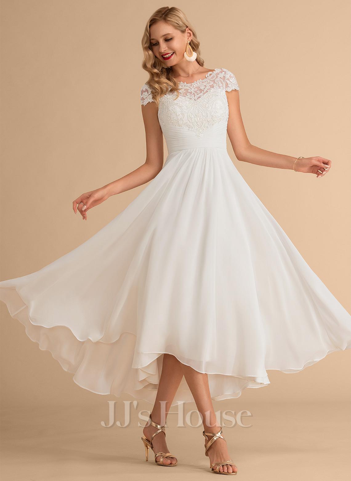 A-Line Scoop Neck Asymmetrical Chiffon Wedding Dress