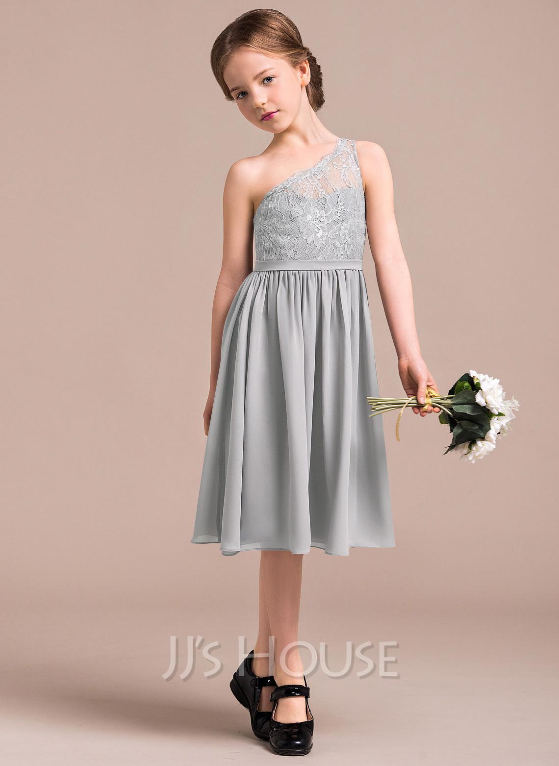 A-Line One-Shoulder Knee-Length Chiffon Lace Junior Bridesmaid Dress