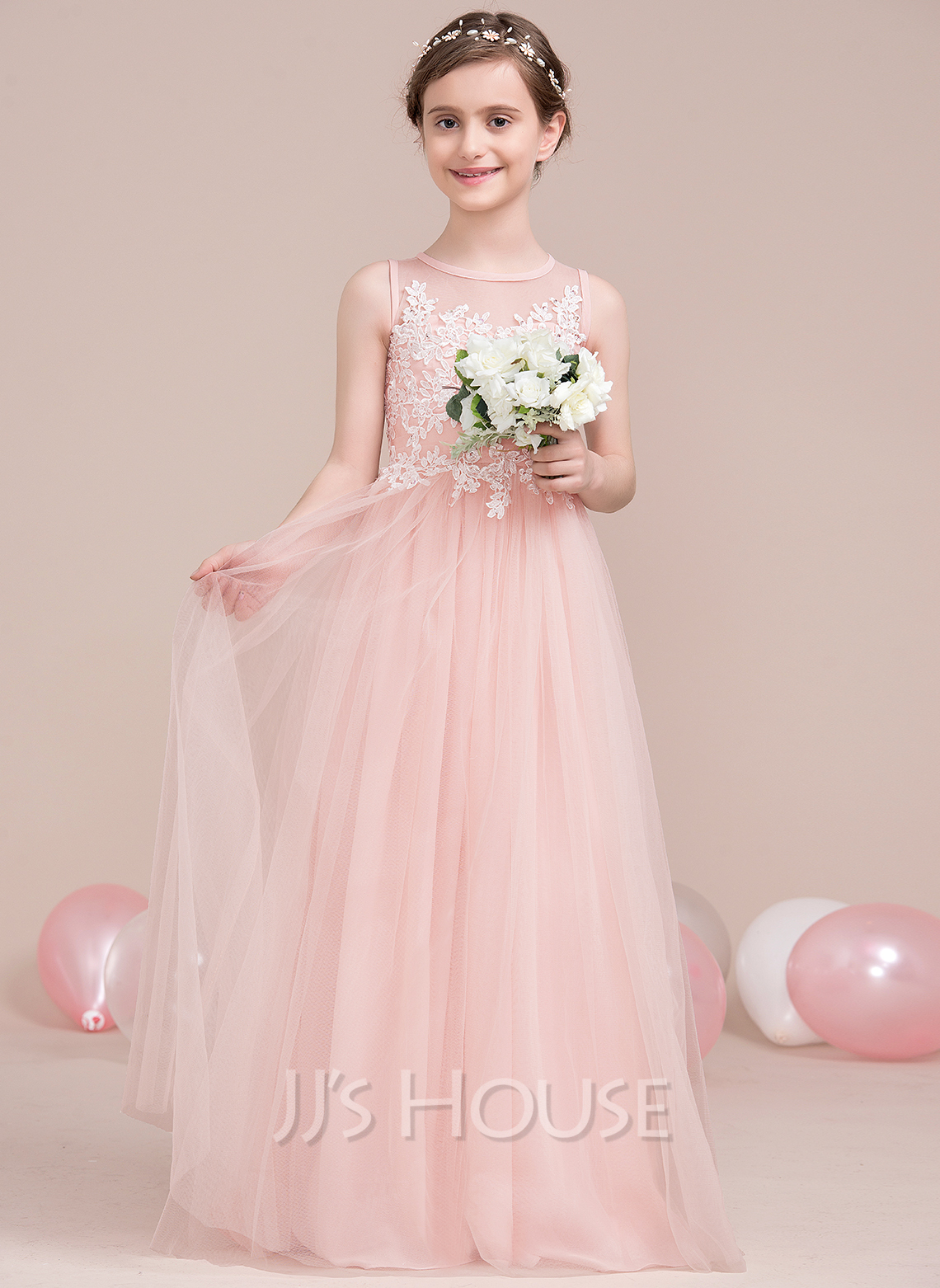 A-Line Scoop Neck Floor-Length Tulle Junior Bridesmaid Dress With Beading Sequins