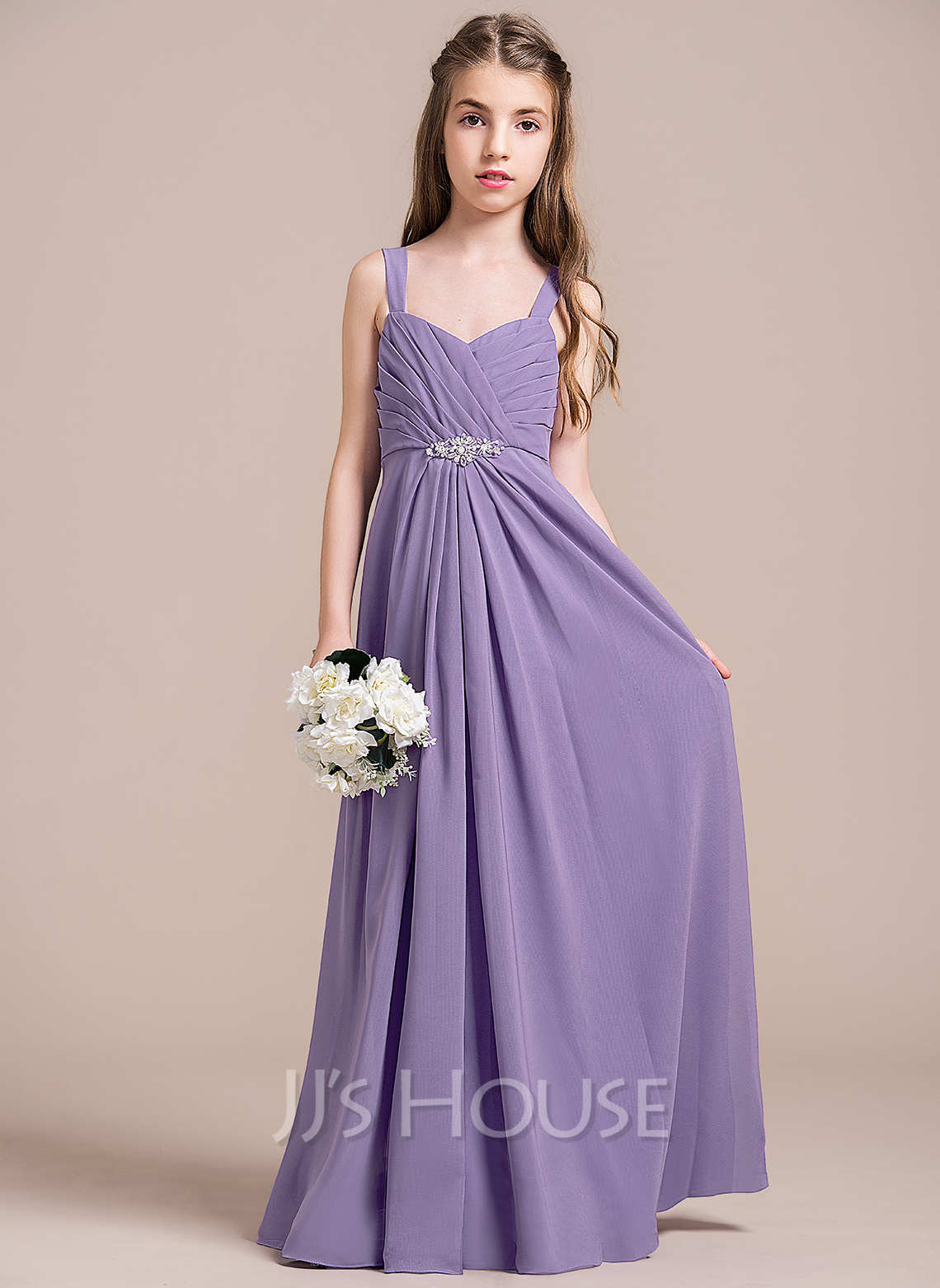 A-Line Sweetheart Floor-Length Chiffon Junior Bridesmaid Dress With Ruffle Beading