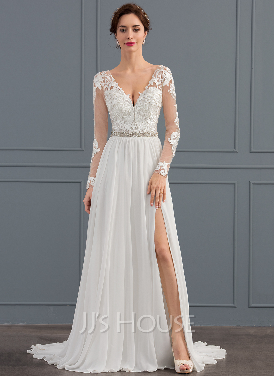 A-Line/Princess V-neck Sweep Train Chiffon Wedding Dress With Beading Sequins Split Front