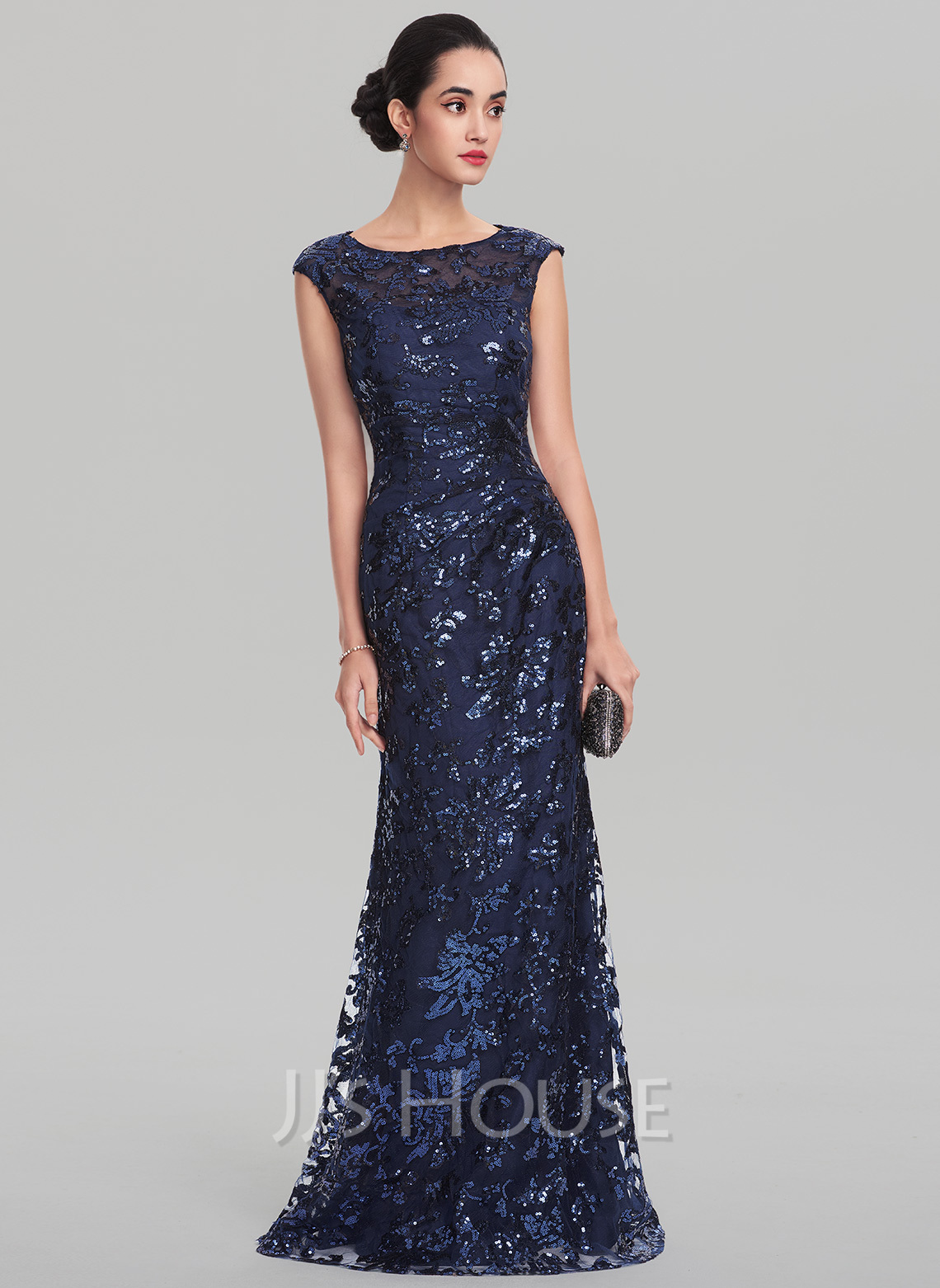 Sheath/Column Scoop Neck Floor-Length Sequined Evening Dress