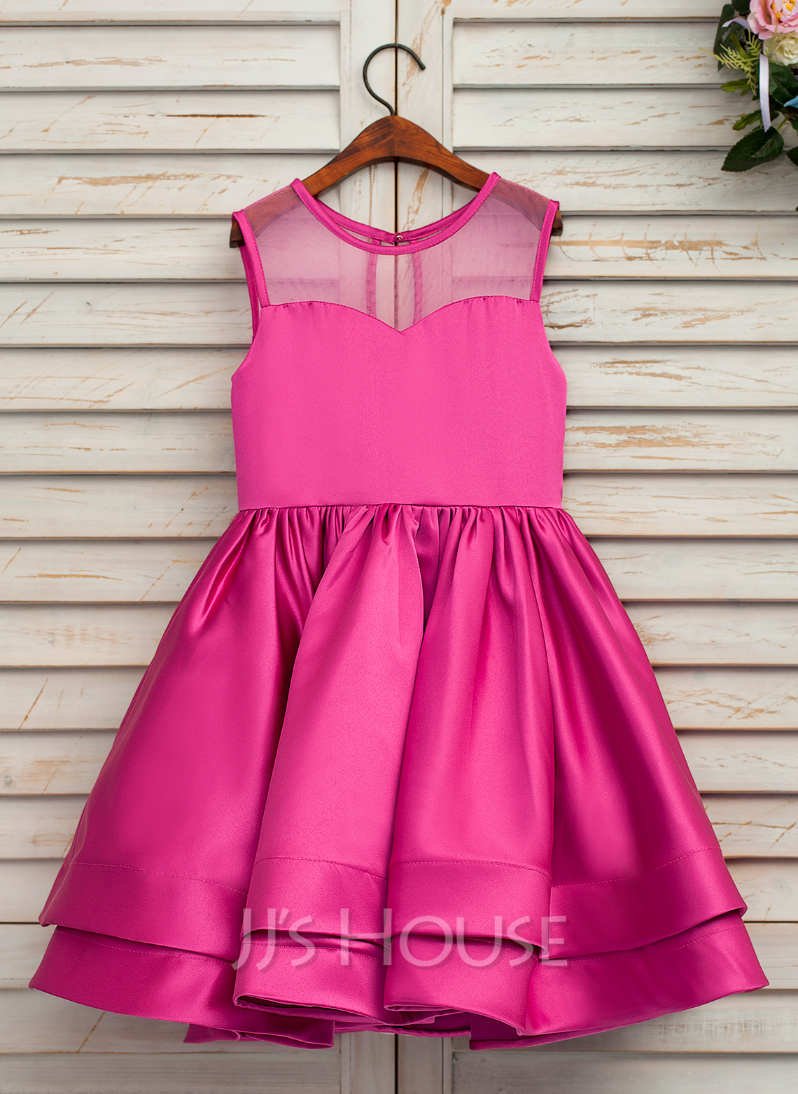 A-Line/Princess Tea-length Flower Girl Dress - Satin/Tulle Sleeveless Scoop Neck