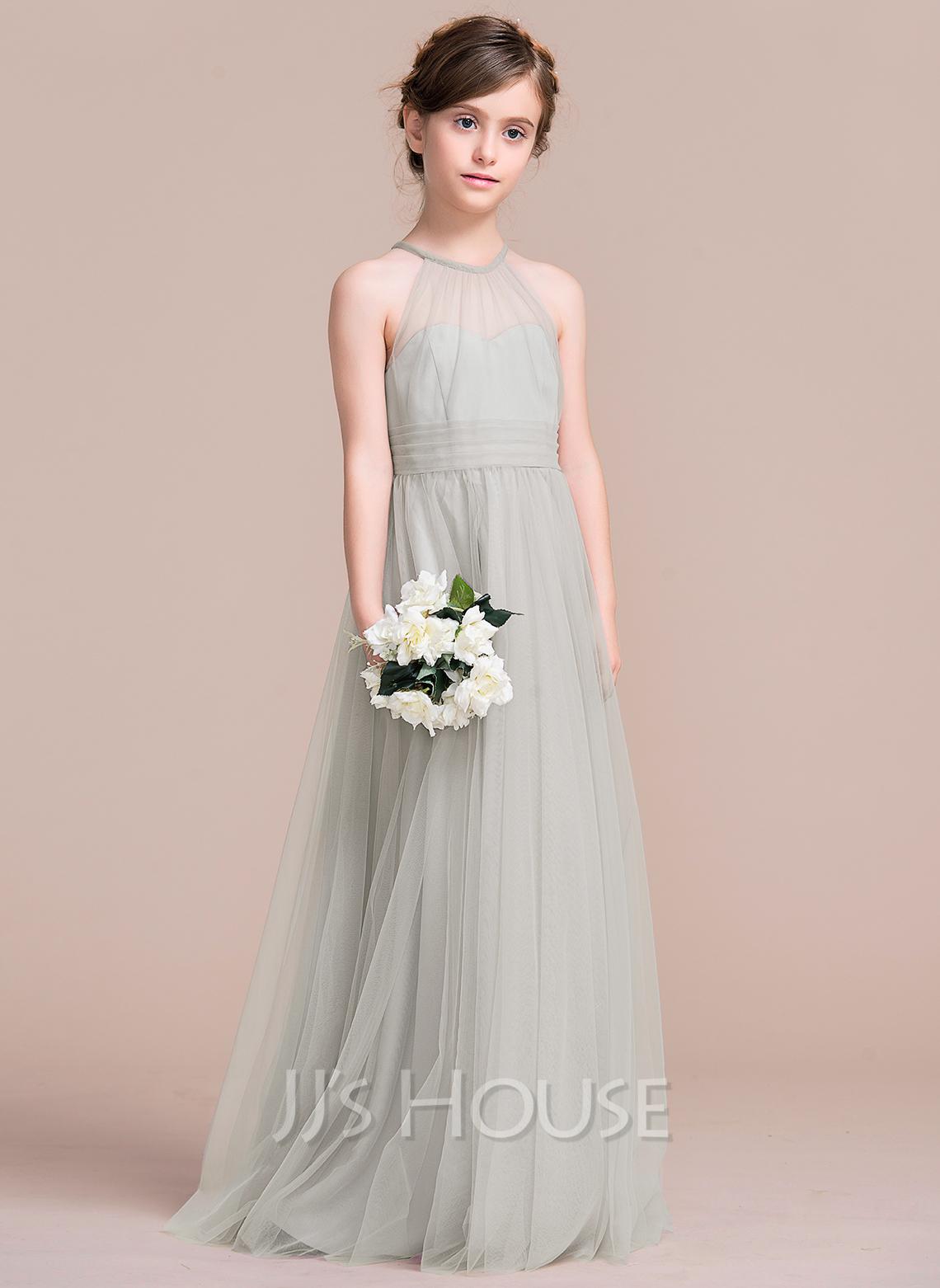 A-Line Floor-length Flower Girl Dress - Tulle Sleeveless Scoop Neck