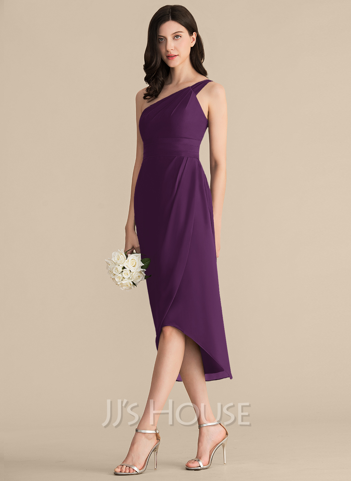 Sheath/Column One-Shoulder Asymmetrical Chiffon Bridesmaid Dress With Ruffle