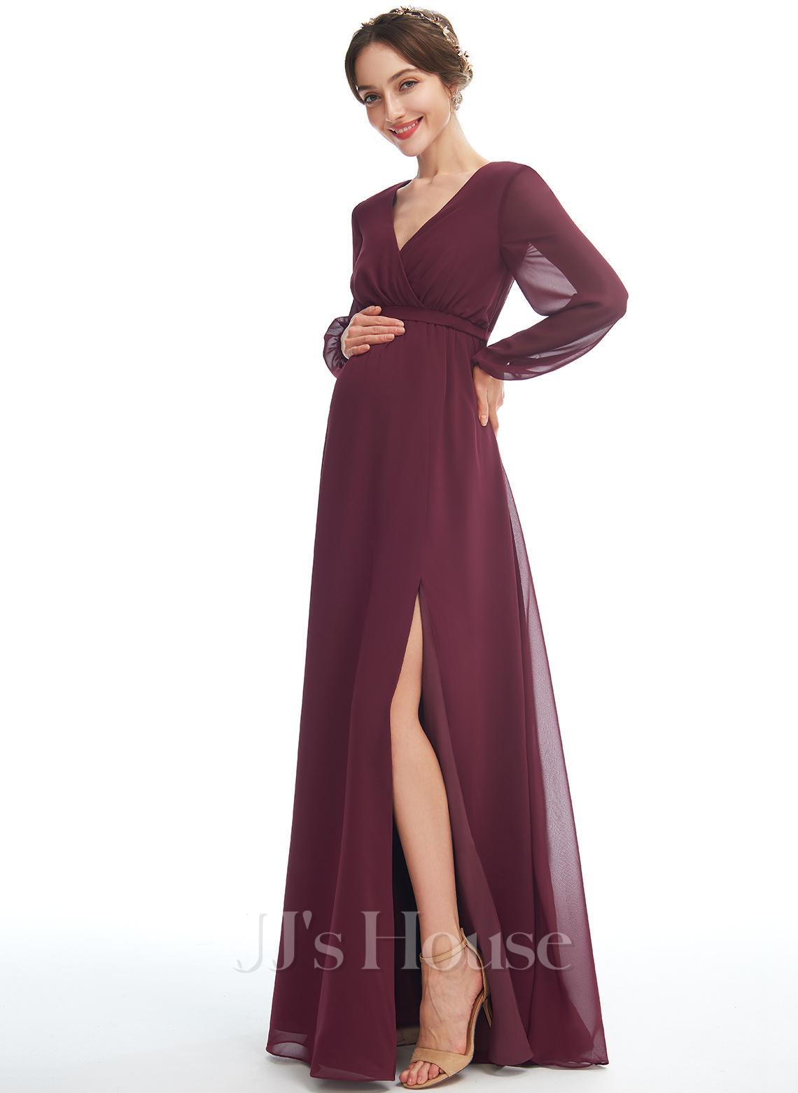 A-line kjole V-hals Gulvlengde Chiffong Brudepikekjole for Gravide med Splittet Front