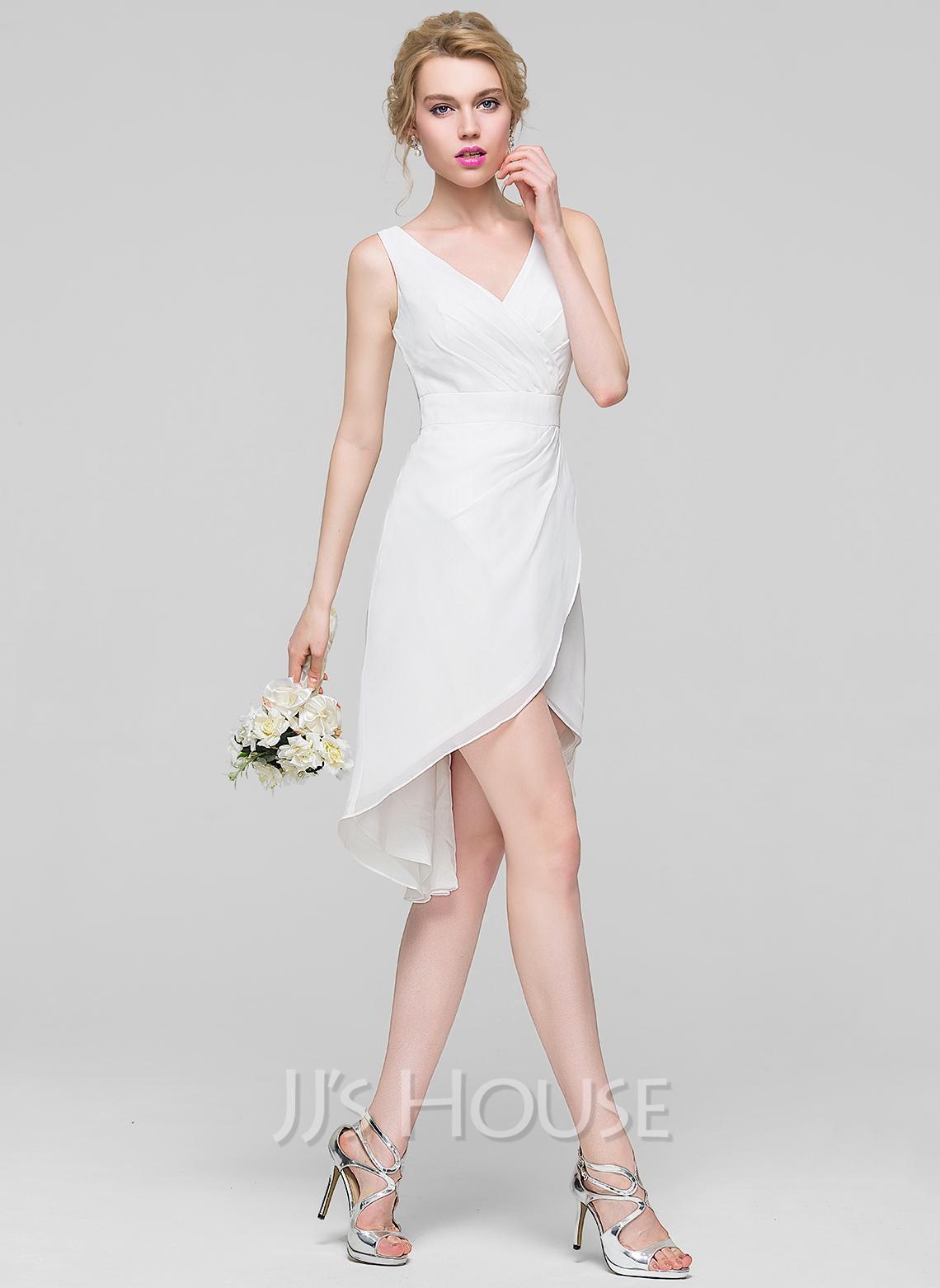 A-Line V-neck Asymmetrical Chiffon Cocktail Dress With Ruffle