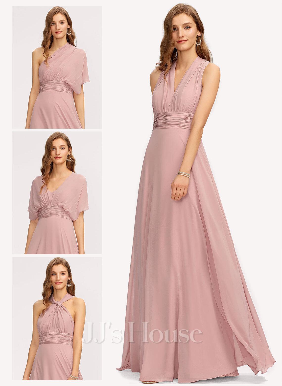 A-Line One-Shoulder Halter V-neck Floor-Length Chiffon Bridesmaid Dress With Ruffle