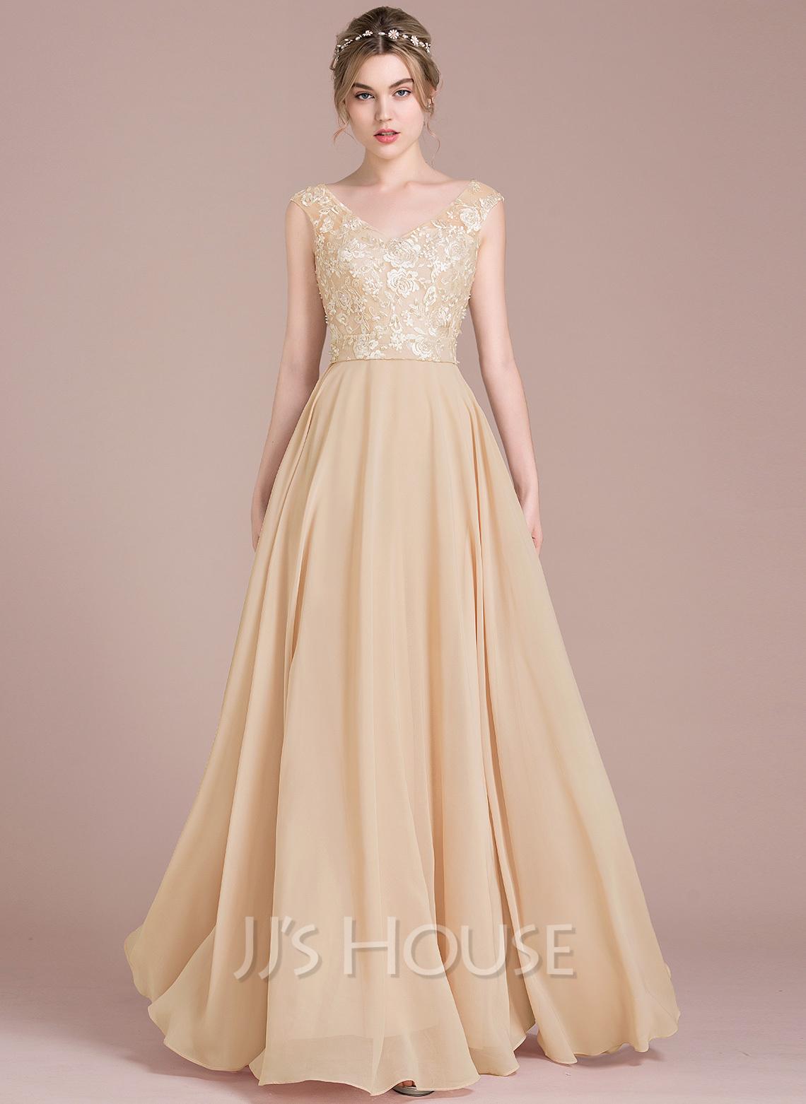 A-Line/Princess V-neck Floor-Length Chiffon Lace Prom Dresses
